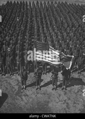 U.S. Army 41st Engineers on parade ground at Fort Bragg, North Carolina, March 1942.  In the segregated army, many - Stock Photo
