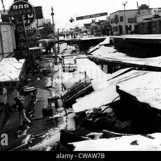 Damage from an earthquake. Anchorage, Alaska. March 27, 1964. Courtesy: CSU Archives/Everett Collection - Stock Photo