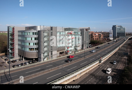 The elevated section of the A4 heading in to London with Worley Parsons offices on the left - Stock Photo