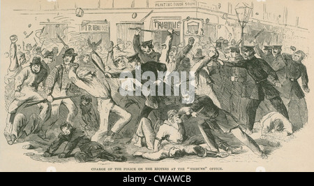 The charge of the  New York City police on the Draft Rioters at the Tribune Office. The Draft Riots lasted from - Stock Photo