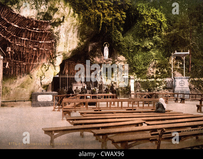 Lourdes, France, The Grotto of Notre Dame, Pyrenees, photochrom, circa 1890s. - Stock Photo