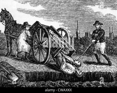 Victims of the black plague, being buried in London, 1665.   Woodcut: 1834. - Stock Photo