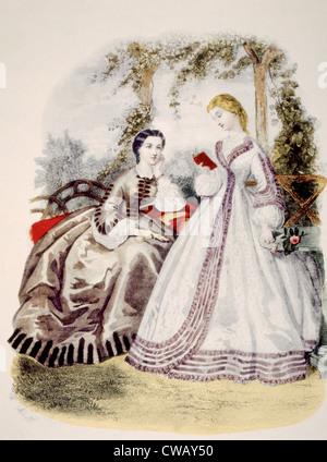 19th century fashion illustration, from 'La Mode Illustre,' Paris, circa 1890. Photo: Courtesy Everett Collection - Stock Photo