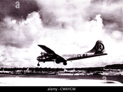 Enola Gay- Boeing B-29 Superfortress 'Enola Gay' landing after the atomic bombing mission on Hiroshima, Japan. 1945 - Stock Photo