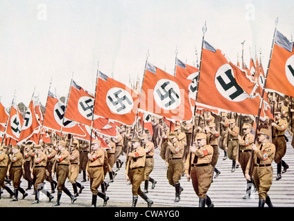 Nazi Germany, Entrance of the Nazi flagbearers at the Party Day rally in Nuremberg, 1933. - Stock Photo