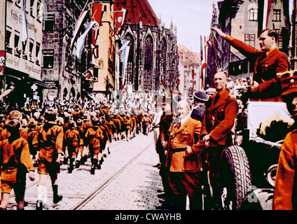 Nazi Germany, Members of the Hitler Jugund march before their leader, Baldur von Shirach, during rally in Nuremberg, - Stock Photo