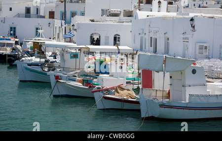 Fishing boats in the picturesque small port of Naoussa on the Greek island Paros. - Stock Photo