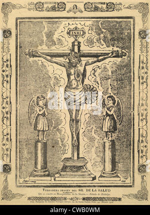 Jesus Christ, broadside depicting a crucifix flanked by statues of angels, titled: 'True Image of Our Lord of Health - Stock Photo