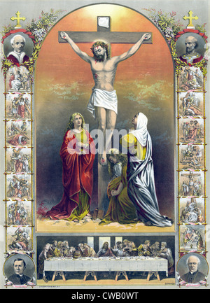 Jesus Christ, The crucifixion and the way of the holy cross, lithograph depicting the crucifixion (center), the - Stock Photo