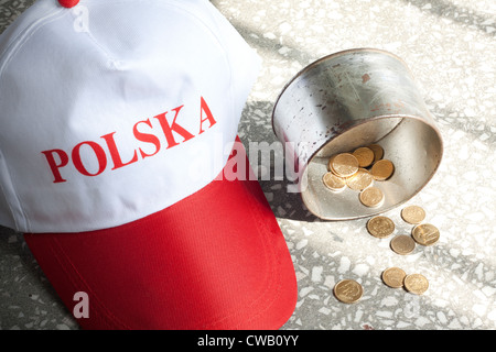 Beggar situation poverty misery and hunger concept in Poland - Stock Photo