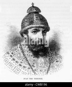 Czar Ivan IV (aka Ivan the Terrible), (1530-1584), engraving 1886 - Stock Photo