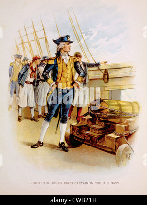 John Paul Jones (1747-1792), first captain of the U.S. Navy, chromolithograph 1897 - Stock Photo