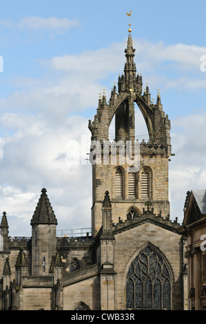 The spire of St. Giles Cathedral, Edinburgh. - Stock Photo