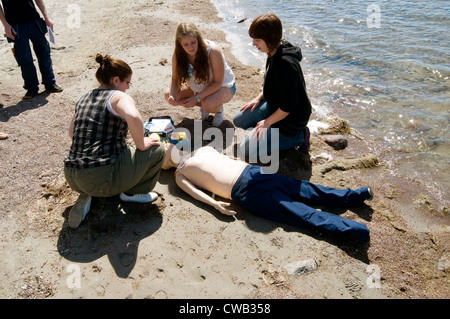 first aid aider training course resuscitation dummy dummies - Stock Photo