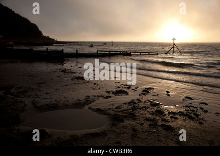 Groynes, Beach, Sandy, Mist, sun, clouds, Colwell Bay, Isle of Wight, England, UK, - Stock Photo