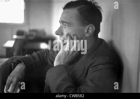 Walker Evans (1903-1975), profile, hand up to face, American photographer, photograph by Edwin Locke, February, - Stock Photo