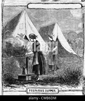 Life on the plains: preparing supper. from sketches by Mr. James F. Gookins - Stock Photo