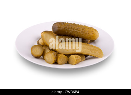 Pickled cucumbers on a plate - Stock Photo