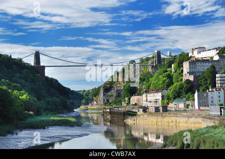 UK Bristol River Avon Clifton Suspension Bridge Spanning Avon Gorge - Stock Photo
