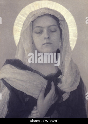 Mary, Woman posed as Virgin Mary, by Charles I. Berg, early 1900s. - Stock Photo