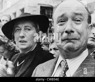 Original caption: 'A Frenchman weeps as German soldiers march into the French capital, Paris, on June 14, 1940, - Stock Photo