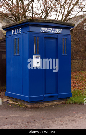 Real blue police box at entrance to Bradgate Park, Newtown Linford Leicestershire, England, UK - Stock Photo