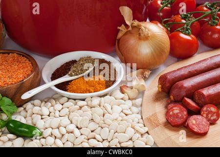 Ingredients for Spanish Chorizo Soup, - Stock Photo