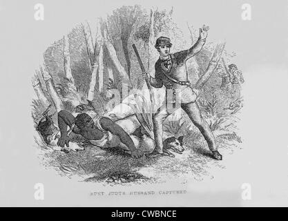 Runaway slave with armed slave catcher and dogs.  1853 illustration by Hammat Billings from UNCLE TOM'S CABIN, showing - Stock Photo