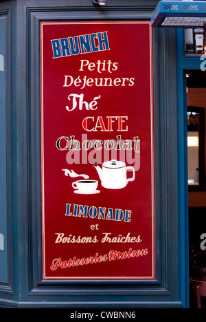 Paris, France. Menu outside café; brunch, breakfast, tea, coffee, chocolate, lemonade, cold drinks and home made - Stock Photo