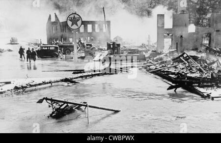 Great Hurricane of 1938. Flood and fire damage in Peterboro, N.H., which occurred after a hurricane which hit New - Stock Photo