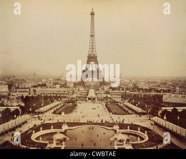Eiffel Tower and Champ de Mars seen from Trocadero Palace, Paris Exposition, 1889. - Stock Photo