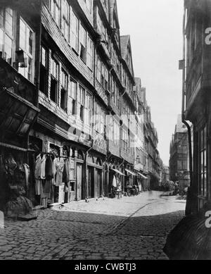 The east side of Judengasse, close to the home of banking family founder Meyer Amschel Rothschild (1744-1812), in - Stock Photo