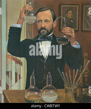 Louis Pasteur (1822-1895), French chemist and microbiologist, working in his chemical laboratory.  Painting by Robert Thom, ca.