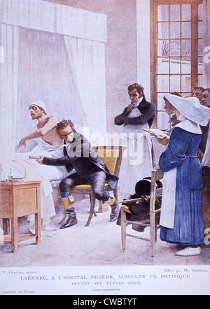 Bedside scene showing French physician, Rene Laennec (1781-1826), with his ear to the patient's chest cavity conducting - Stock Photo