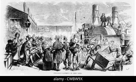 European immigrants arriving at New York City's Castle Garden, America's first official immigration center in 1858. - Stock Photo