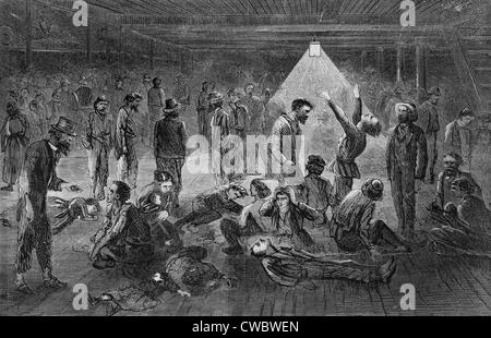 Steerage passengers suffering from 'Ship Fever,' during the Atlantic crossing of the sail ship JAMES FOSTER from - Stock Photo