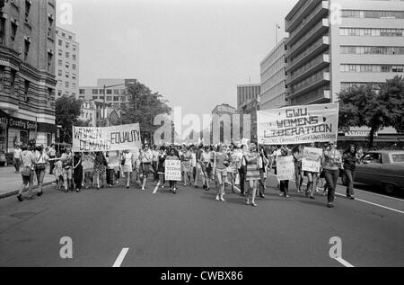 Women's liberation march from Farrugut Square to Layfette Park, Washington, D.C. on August 26, 1970. The Feminist movement