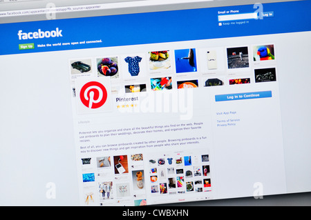 Facebook Pinterest app website - content sharing service for images and videos - Stock Photo