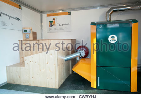 Wood Pellet Boiler Of A Central Heating System In A