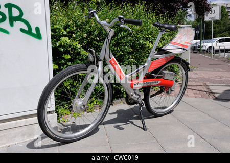 A Deutsche Bahn 'Call a Bike' bicycle for hire in Frankfurt, Germany. - Stock Photo