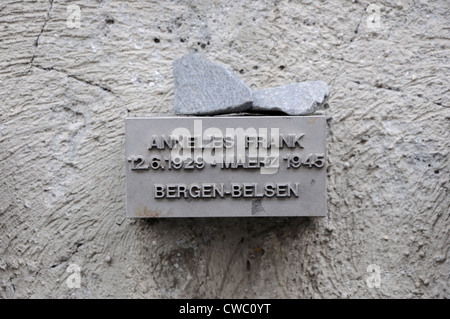 Memorial to Anne Frank who was born in Frankfurt, Germany in 1929 and died in Bergen-Belsen concentration camp in - Stock Photo