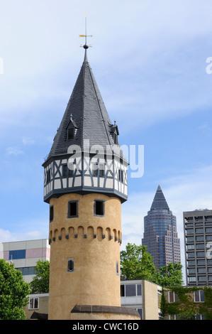 Bockenheimer Warte and Messeturm, Frankfurt, Germany. - Stock Photo