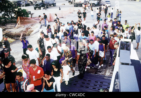 Cuban migrants at Guantanamo Bay Naval Base assembling for their flight to Homestead Air Force Base Florida where - Stock Photo