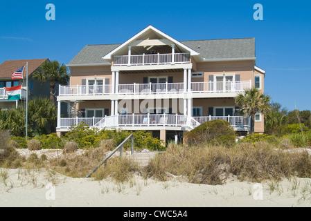 Beach Front Home, Hilton Head, South Carolina, USA - Stock Photo