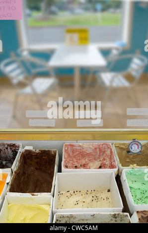 Ice Cream In Ice Cream Shop Parlor From Employee Point Of View - Stock Photo