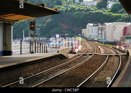 Looking from Dawlish station along the railway line - Stock Photo