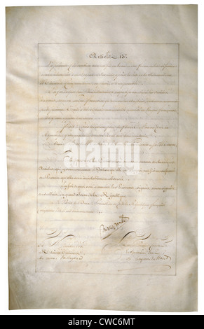 Louisiana Purchase Treaty of 1803 signed by Napoleon Bonaparte and Talleyrand. - Stock Photo