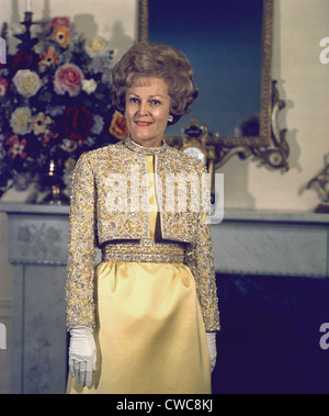 Patricia Nixon models her Harvey Berin inaugural gown in the Nixon's New York apartment on Jan 16 1969. The jacket - Stock Photo