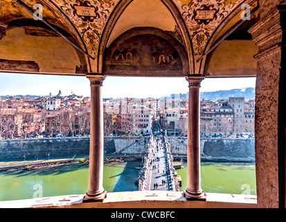 View from the Castle St Angelo with the Bridge Castle Ponte Vittorio Emanuele II over the River Tiber - Stock Photo