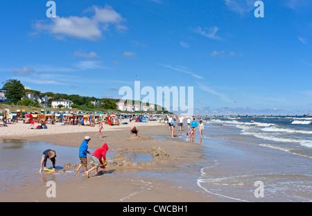 Bansin beach, Usedom Island, Baltic Sea Coast, Mecklenburg-West Pomerania, Germany - Stock Photo